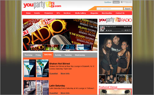 youparty365 wedsite design